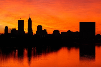 Skyline silhouetted by at sunset