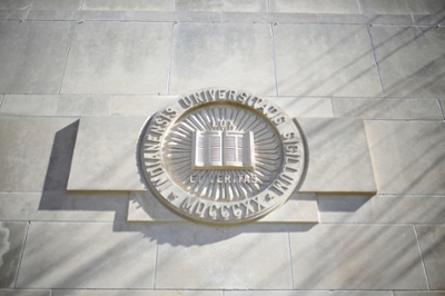 Limestone IU seal on wall