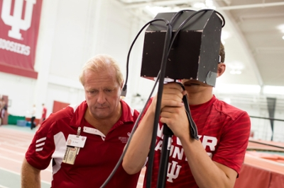 Test subject and researcher using sideline concussion equipment