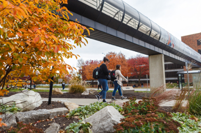 A fall view from the ground of an IUPUI 'gerbil tube' used to get from one building to another