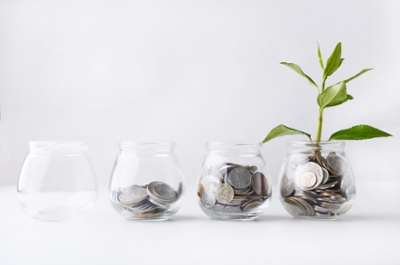 A series of glass jars with increasing amounts of coins; the rightmost has a plant in it.